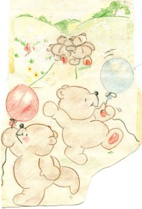 I drew these quite some time ago, and have since become a bit torn and yellowed with age. Again, my apologies to original artists Deborah Jones and those at Hallmark.